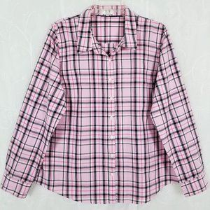 Crown & Ivy XL Top Long Sleeve Button Up Plaid